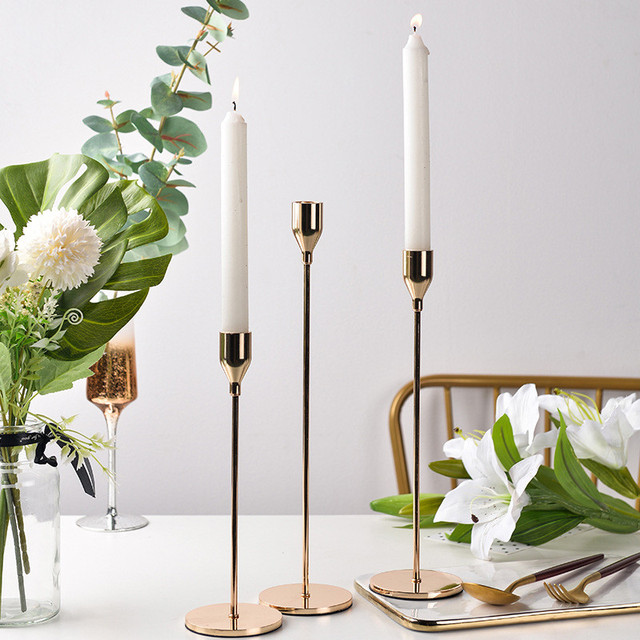 3 Pcs/ Set  European Metal Candle Holder Simple Golden Wedding Decoration Bar Party Living Room Decoration Home Decoration 5