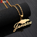 SONYA нержавеющая сталь Jamaica карта кулон ожерелья для женщин девушек золотой цвет любовника помолвки ямайский Ювелирные изделия Подарки