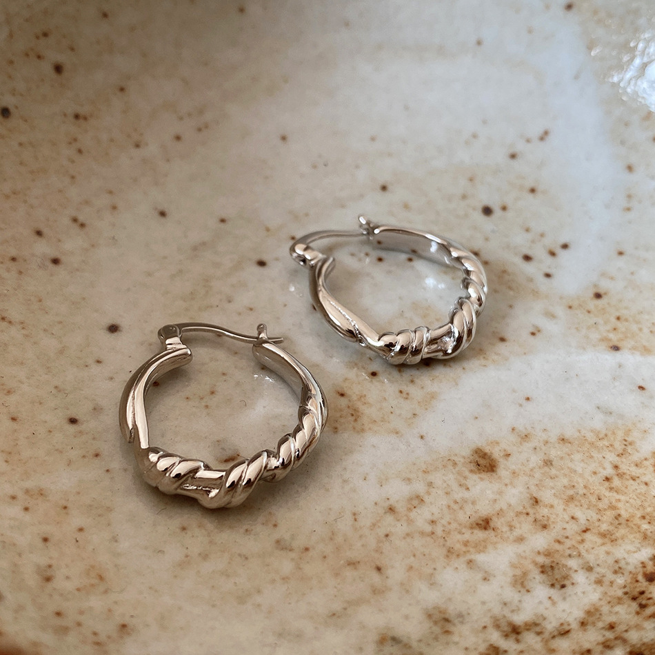 Female Classic 100/% 925 Silver Hip-hop Round Stone Hoop Authentic Silver Jewelry Earrings