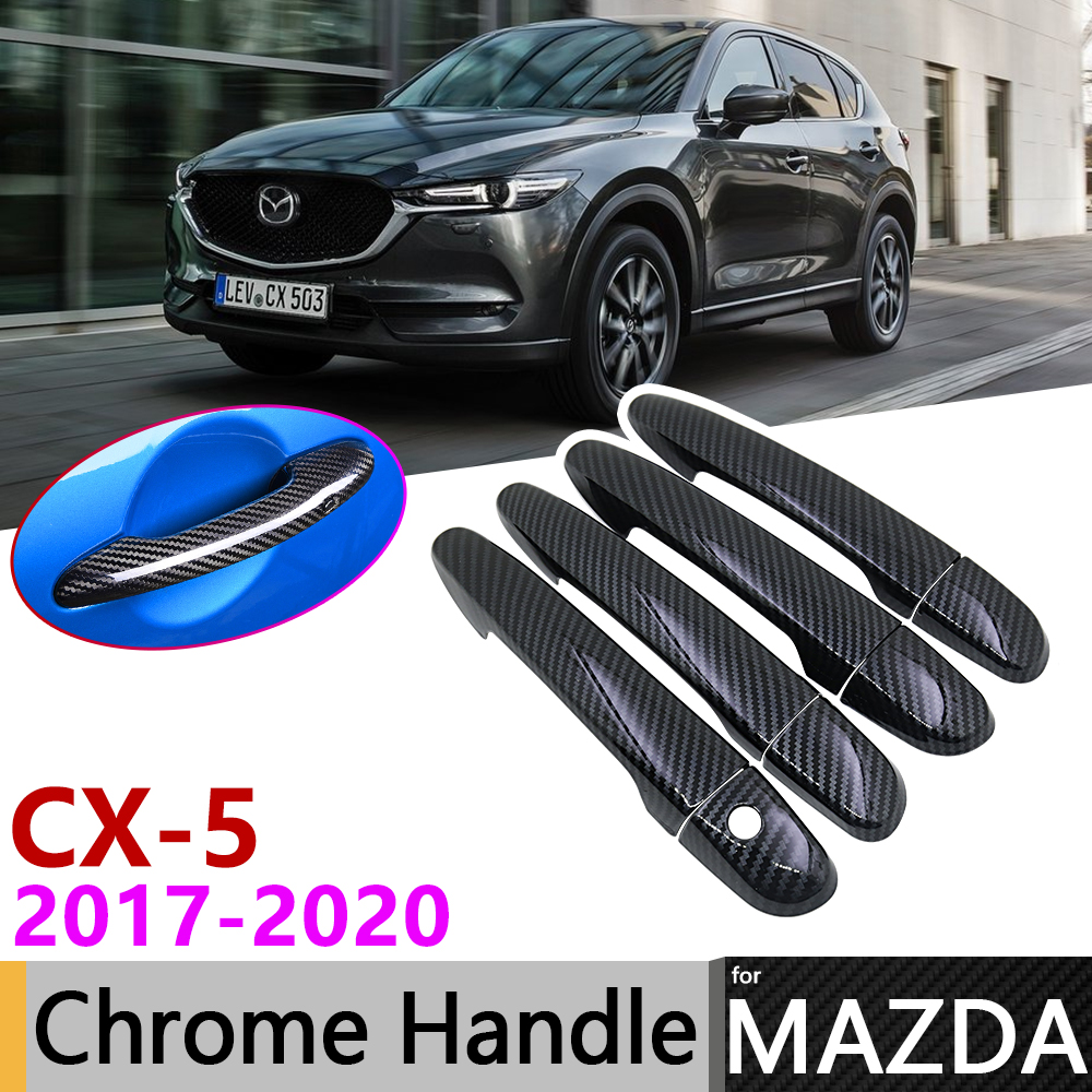 Black Carbon Fiber Door Handle Cover for <font><b>Mazda</b></font> CX-5 <font><b>CX5</b></font> CX 5 KF 2017~2020 2018 <font><b>2019</b></font> Car <font><b>Accessories</b></font> Stickers Trim Set Chrome image