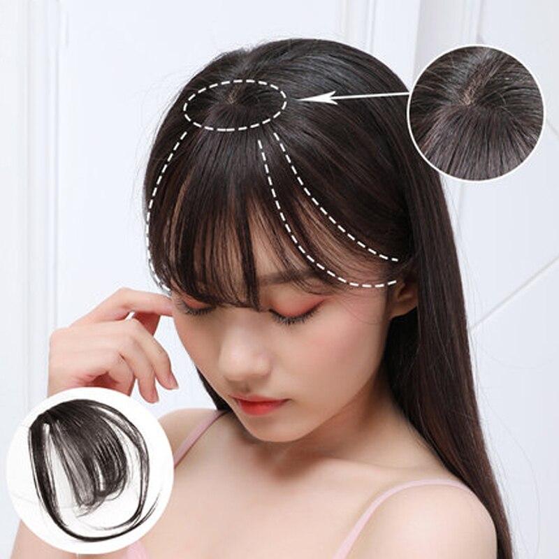 Frange frange synthétique cheveux Topper Extension pince en couronne postiche avec Temples pour les femmes court noir et brun