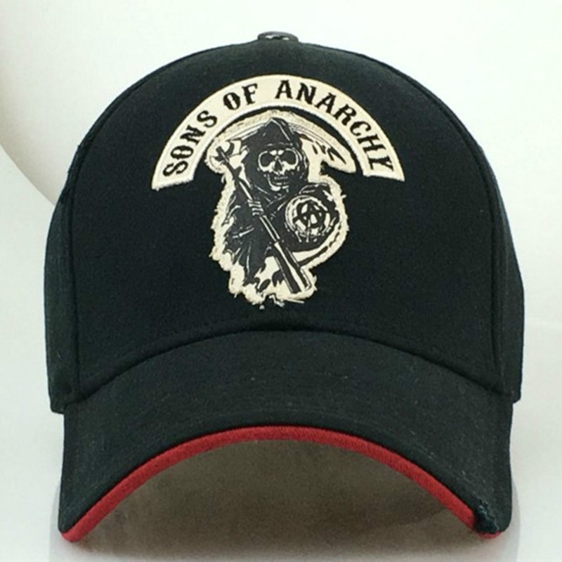 Hot Sale TheTV Sons Of Anarchy Embroidery Patch Reaper Crew Visor SAMCRO Man Baseball Cap Punk Black Motorcycle Caps