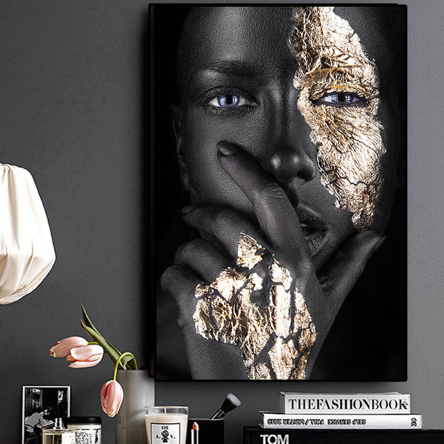 4YANG African Art Black and Gold Woman Oil Painting on Canvas Posters and Prints Scandinavian Wall Art Picture for Living Room