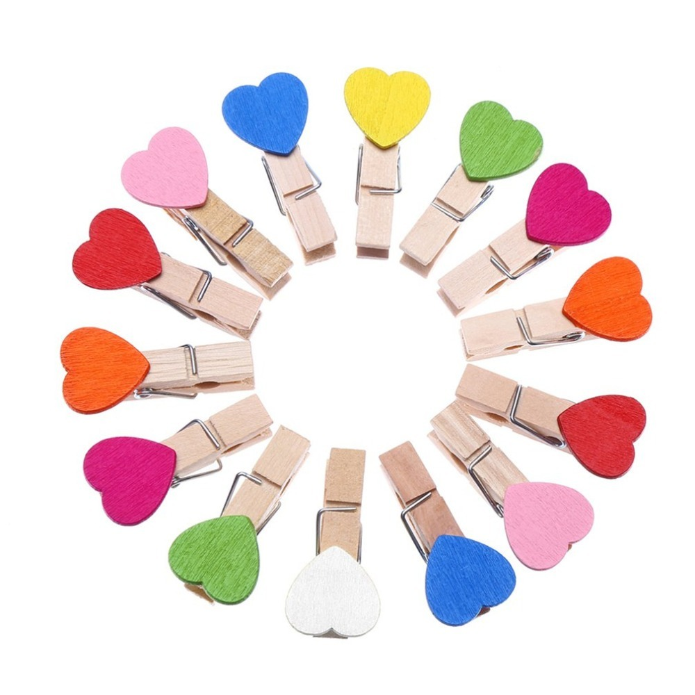 10 Pcs Colored Mini Love Heart Wooden Office Supplies Craft Memo Clips DIY Clothes Paper Photo Peg Decoration With 2m Hemp Rope