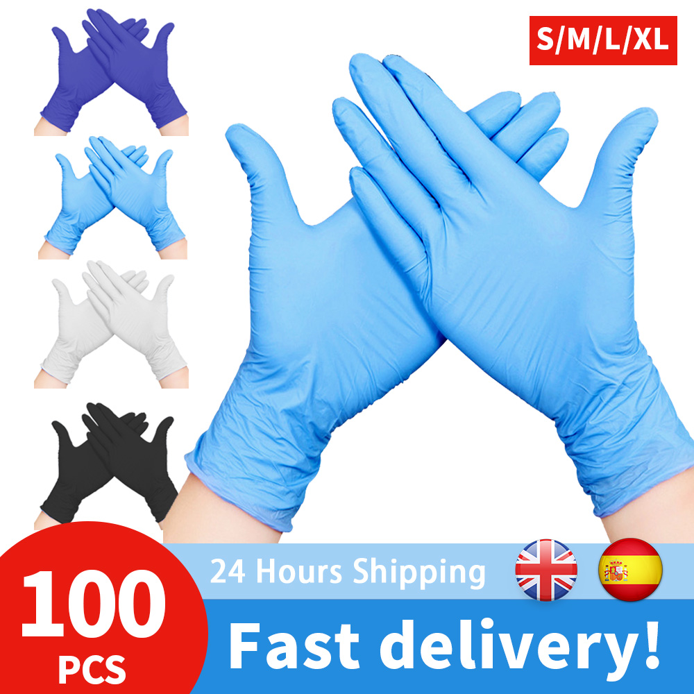 100pcs XL Size Disposable Latex Gloves Nitrile Large Universal Gloves For Kitchen Washing /Food/Industrial Use Gloves Power-free