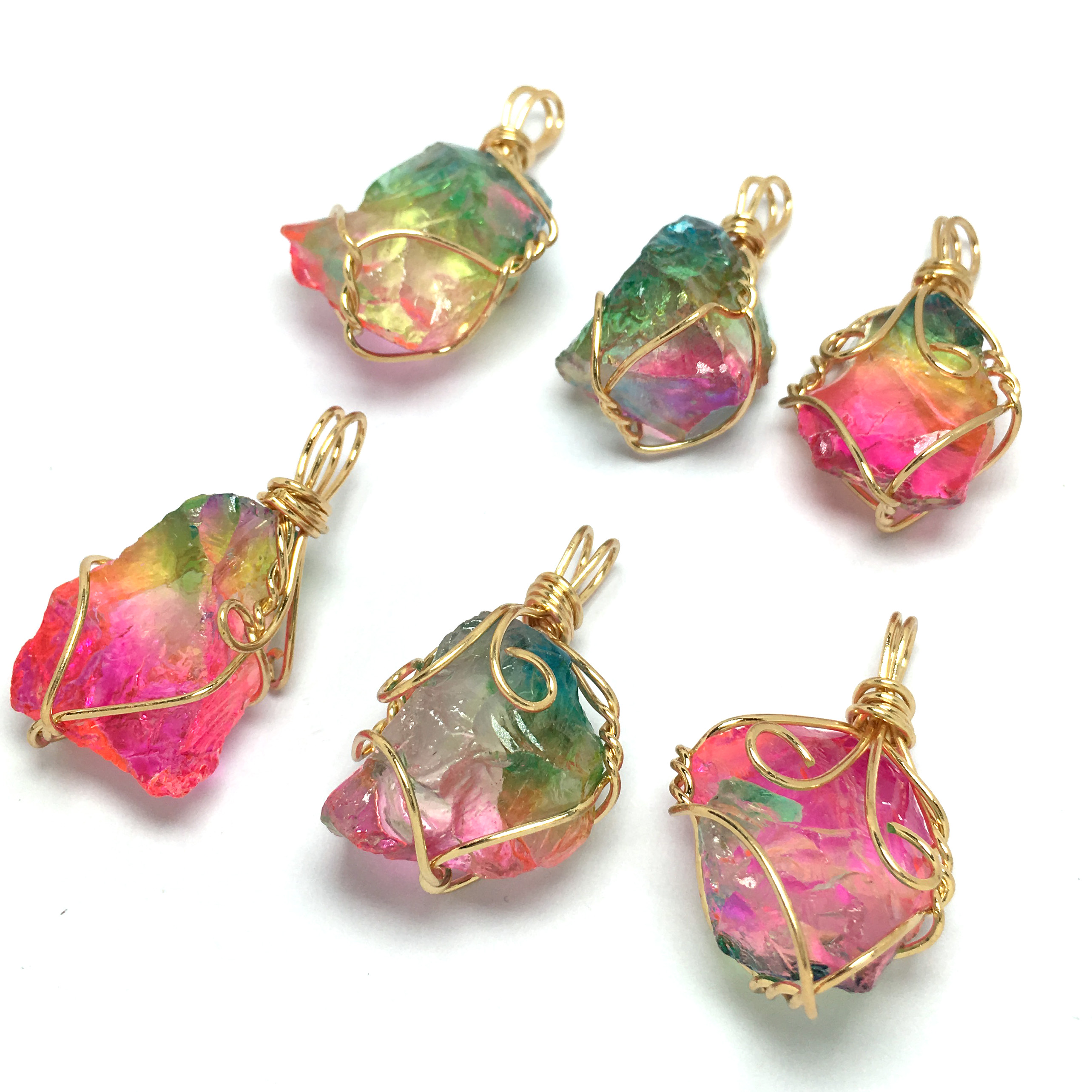 New Style Tree of Life Irregular Necklace Pendants Wrap Wire Natural Gem Rainbow Stone Quartz Opal Men Women Reiki Necklace in Pendant Necklaces from Jewelry Accessories