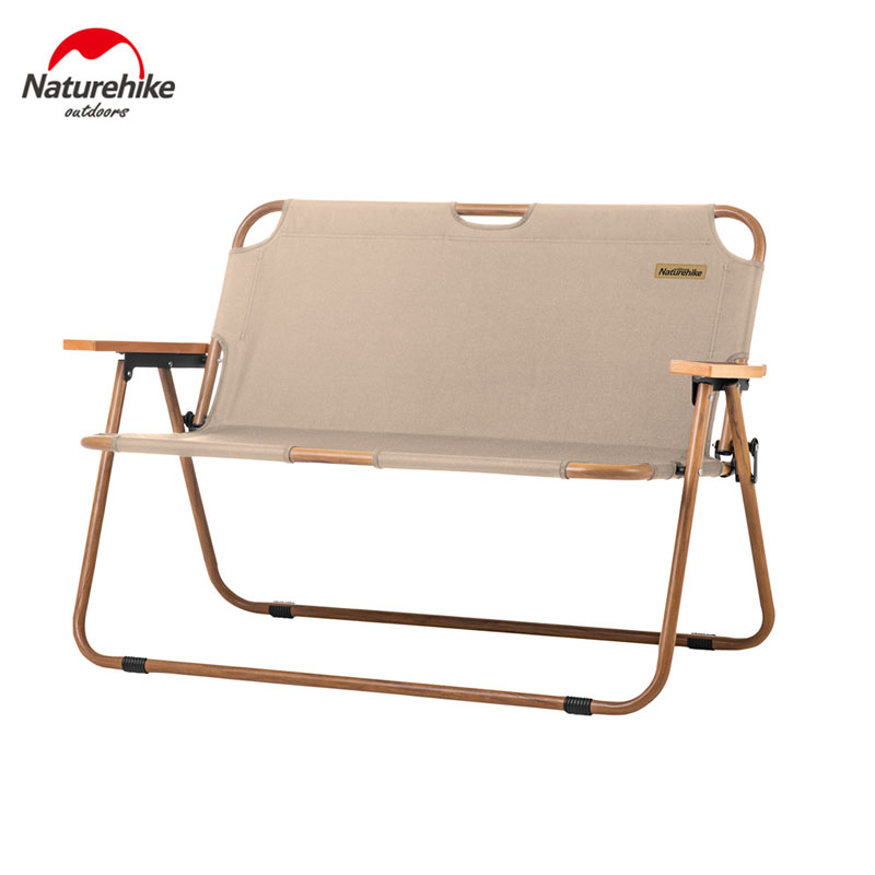 Naturehike Outdoor Leisure Double Folding Chair Portable Ultralight Camping Picnic Beach Chair 2 Person Wood Grain Nap Chair