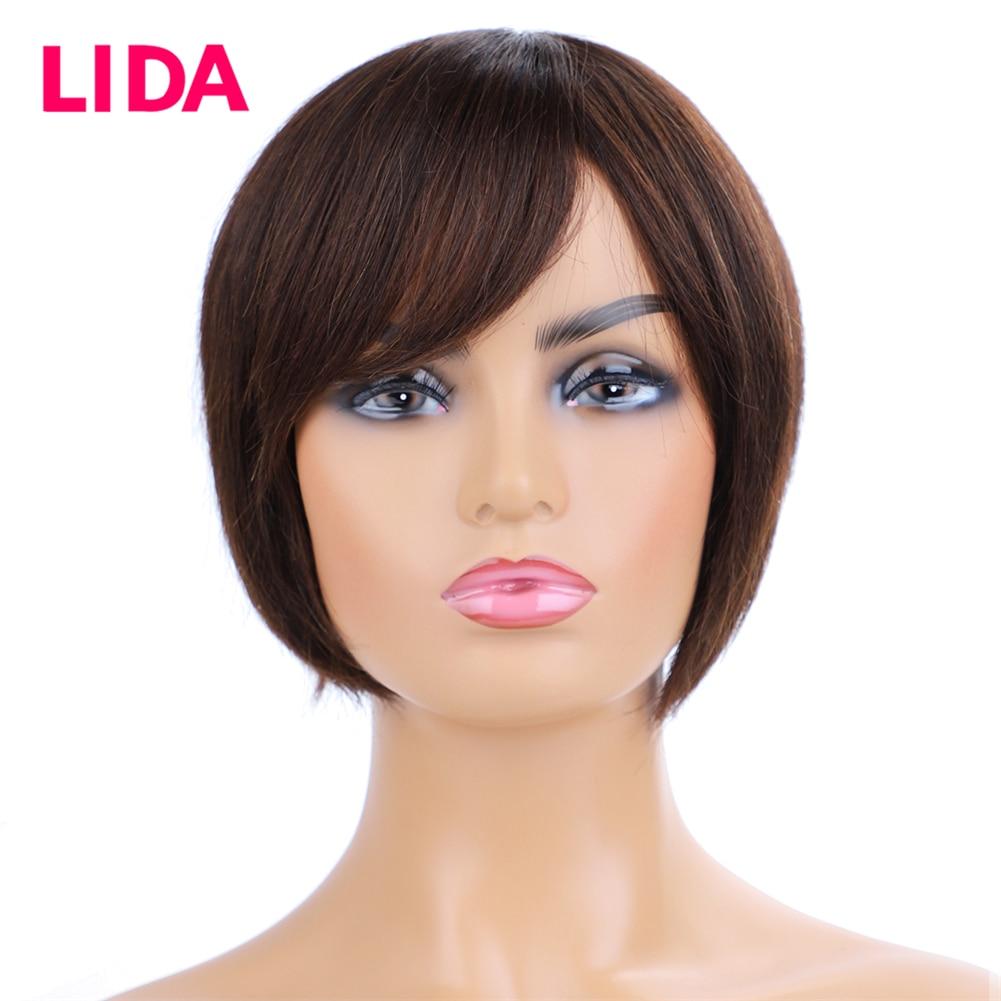 Lida 6 Inch Short Human Hair None Remy Brazilian Hair 130%  Density Full Machine Made Women Wig