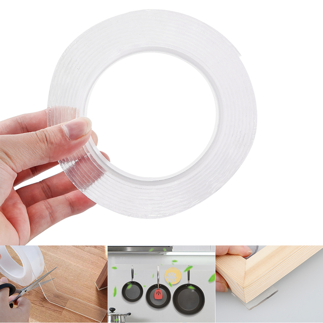 1/2/3/5m Reusable Double-Sided Adhesive Nano Traceless Tape Removable Sticker Washable Adhesive Loop Disks Tie Glue Gadget 3