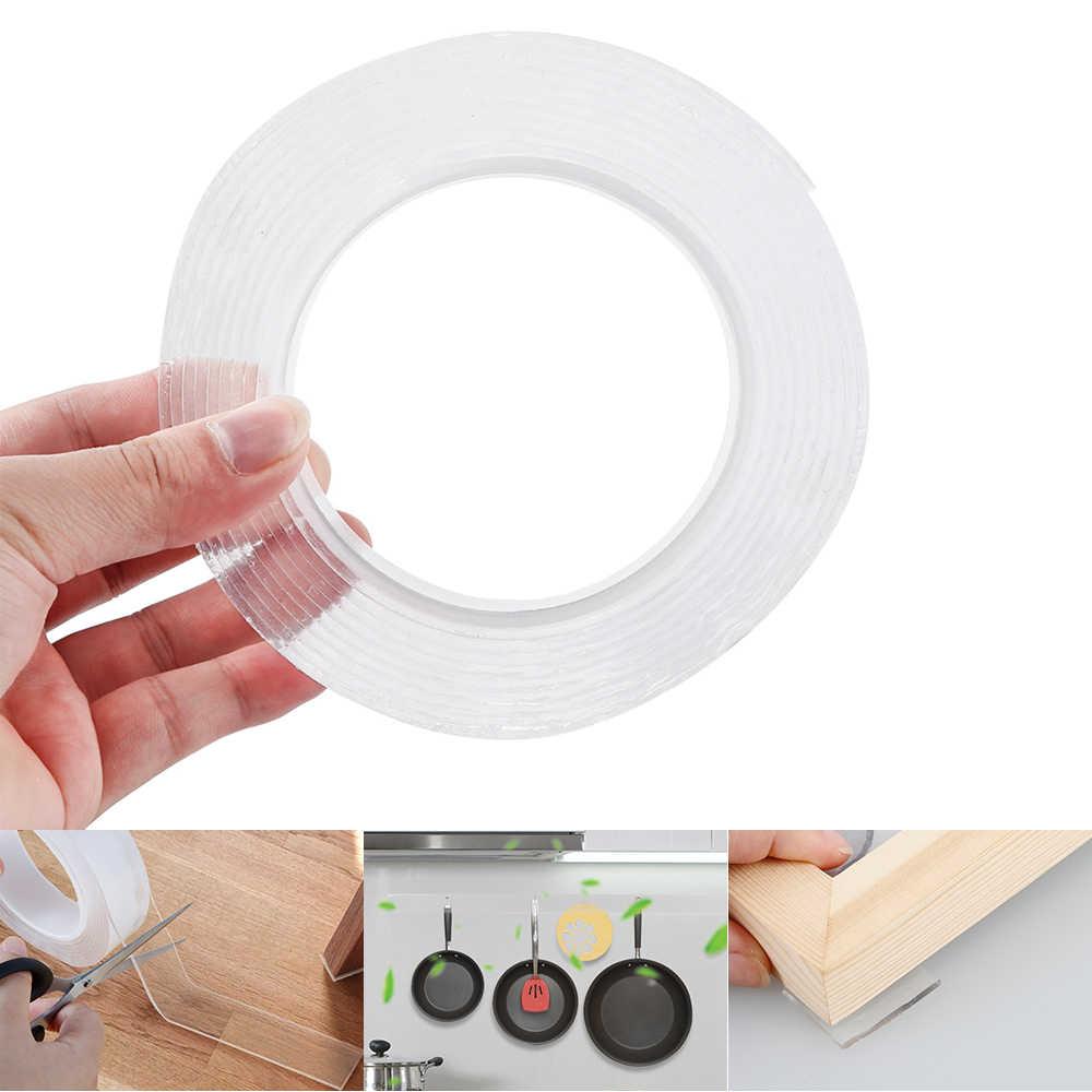1/2/3/5m reusável dupla-face adesivo nano fita traceless removível adesivo lavável loop discos laço adesivo colar gadget