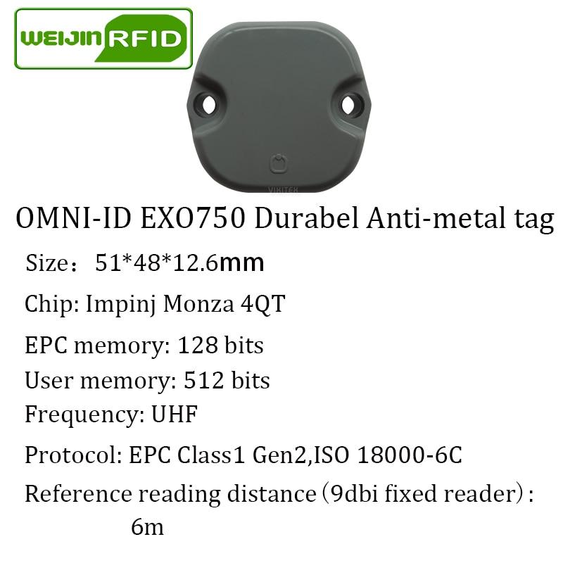 Купить с кэшбэком UHF RFID metal tag omni-ID EXO 750 EXO750 915mhz 868mhz Impinj Monza4QT EPCC1G2 6C durable ABS smart card passive RFID tags