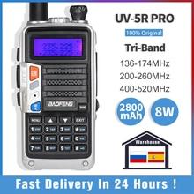 Baofeng walkie-talkie UV-5R pro tri-band rádio em dois sentidos 220-260mhz rádio presunto vhfuhf fm transceptor baofeng rádio cb