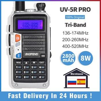 Baofeng-walkie-talkie UV-5R Pro, Radio bidireccional de tres bandas, 220-260MHz, Ham, VHFUHF, FM, transceptor, Baofeng, estación de Radio CB