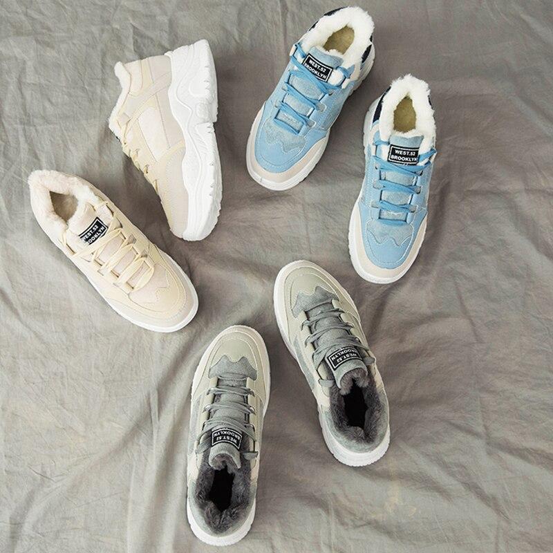 SWYIVY Platform Sneakers Women Shoes Winter Warm Flock Women Sneakers 2019 Casual Shoes Woman Med Heel Ladies Shoe BreathableWomens Vulcanize Shoes   -
