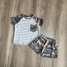 Girlymax new Arrivals baby boys summer cotton grey stripe top camo shorts Elastic pattern print set kidswear outfits children