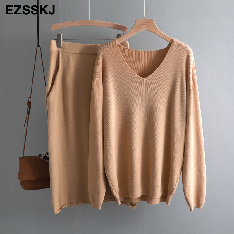 V-neck Lazy Oversize Sweater Suit Dress Women Casual Loose Sweater +straight Skirt With Pocket  Feamle Sweater Set Dress
