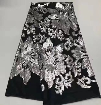 2019 New Design Velvet With Sequins African French Velvet Lace Fabric High Quality Nigerian Velvet Lace Fabric For Garment YY944