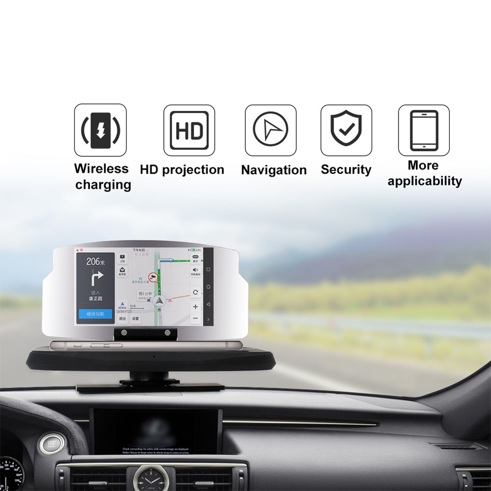 Head Up Display Clear Multifunction Portable Driving Projector Smart Safe GPS Navigation Speed Warning Phone Holder HD Car