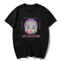 Kimetsu não yaiba porco assalto-inoske hashibira t camisa dos homens kawaii topos dos desenhos animados caratê gráfico t camisa unisex harajuku masculino