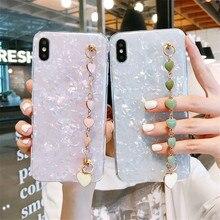 Liebe Herz Handgelenk Kette Telefon Fall Für Samsung Galaxy A21s A51 A71 A10 A20 A30 A50 A70 M30S M31 M51 rosa Weiß Marmor Weiche Abdeckung