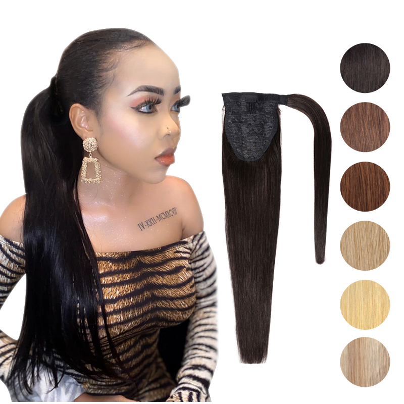 MRS HAIR Ponytail Human Hair Clip In Black / Blonde Machine Remy Hairpieces Straight Clip In Hair Extensions 14