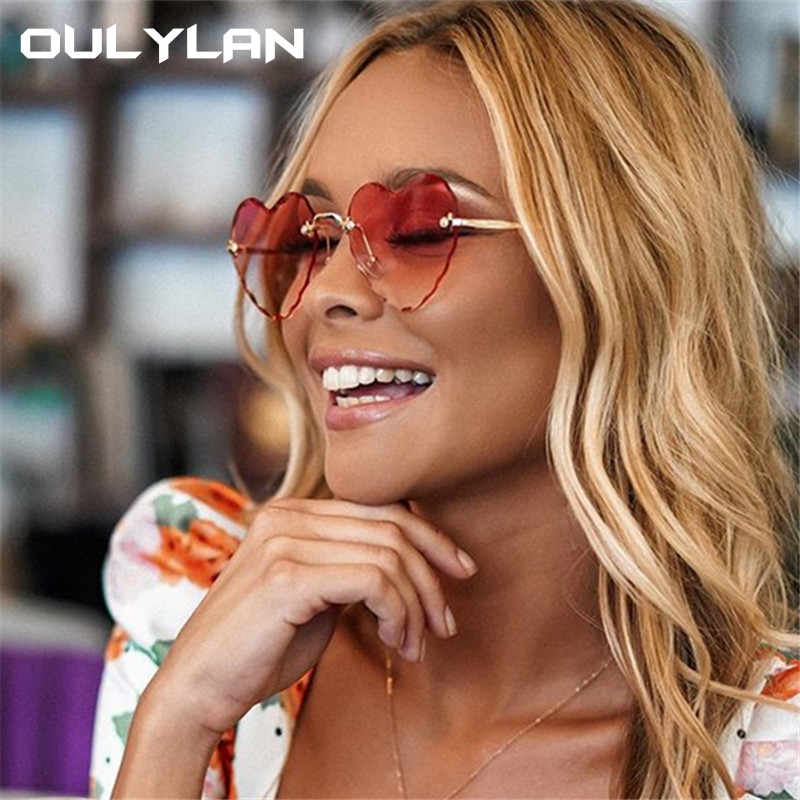 Oulylan Women Rimless Sunglasses Fashion Heart-shaped Sun Glasses for Wome Vintage Cute 90s Gradient Shades Eyeglasses  UV400