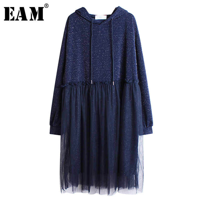 [EAM] Women Black Pleated Mesh Split Big Size Dress New Hooded Long Sleeve Loose Fit Fashion Tide Spring Autumn 2020 19A-a35