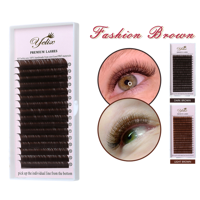 YELIX 0.07 C D False Eyelashes Dark Brown Individual Eyelash Extension Color Fake Eye Lashes Mink Eyelash Extension 100% real