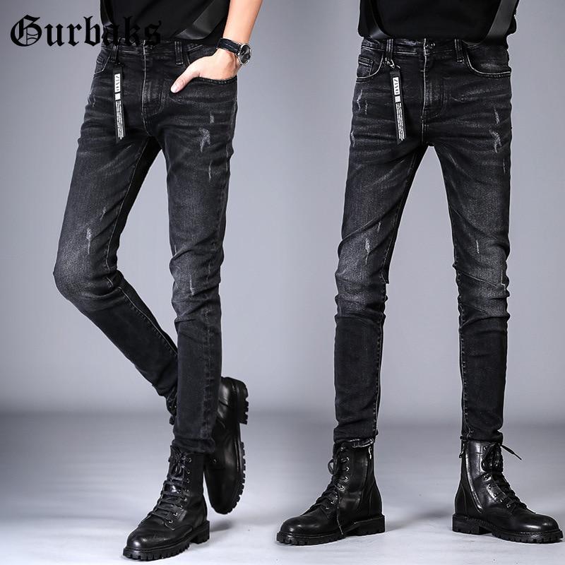 Gurbaks Trend With Holes Jeans Men's 2019 Autumn New Style Slim Fit Skinny Pants Korean-style Long Pants Men's