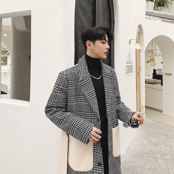 Men's coat 2019 autumn and winter new color matching long section material coat young people fashion trend men's clothing