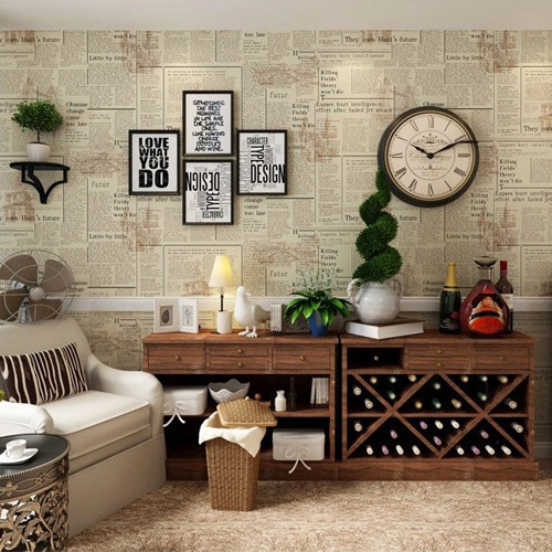Chinese Style Retro Nostalgic English Newspaper Lettered Wallpaper Store Western Restaurant Photography Background Clothing Stor