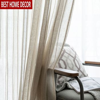 Tulle Window Curtains for Living Room Soild Cotton Linen Sheer Curtains for Bedroom Stripe Voile Curtains Treatments Drapes Door princess style 100% cotton curtains elegant white lace curtains sheer tulles for girl s room window door sheet screen home decor