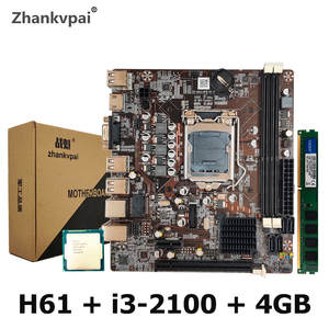 H61 Desktop Motherboard For Intel Cpu Set With Core Duo 3.1G Cpu i3-2100 + 4G Memory Computer Mainboard Assemble Set