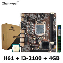H61 LGA1155 Desktop Motherboard For Intel  Set With Core Duo 3.1G Cpu i3-2100 + 4G Memory  Computer Mainboard Assemble Set