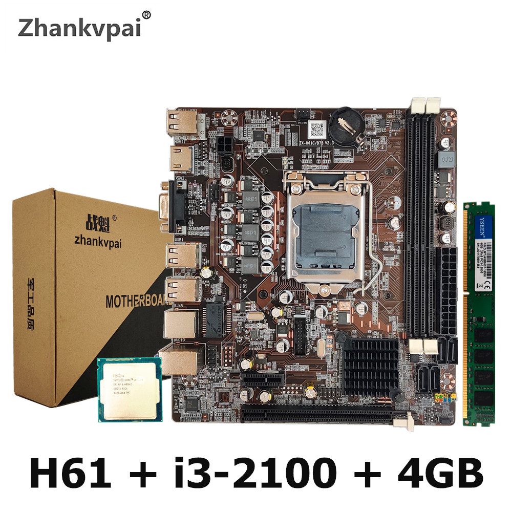 H61 LGA1155 Desktop Motherboard For Intel Set With Core Duo 3.1G Cpu i3-2100 + 4GB Memory Computer Mainboard Assemble