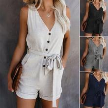 Summer V Neck Sleeveless Button Jumpsuit Women Plus Size Romper Elegant Tunic Sh