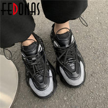 Fedonas novo dedo do pé redondo sapatos para as mulheres cruz amarrado couro genuíno plataforma feminina sapatos planos 2021 primavera mais novo feminino snekers