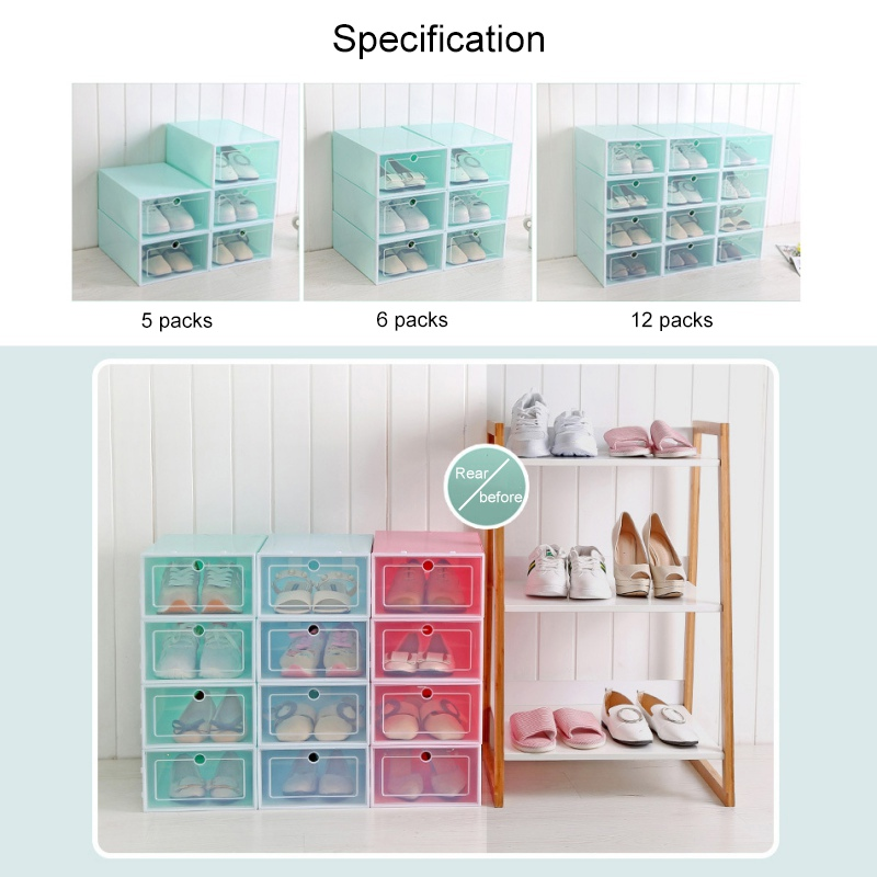 Foldable Shoe Box Organizer for Easy Storage of Shoes with Drawers 1