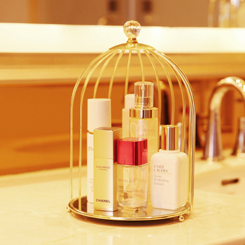 Nordic  Iron Cosmetic Desktop Display Box Transparent Makeup Organizer Birdcage Shape Glass Tray Dressing Table Finishing Rack