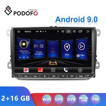Podofo Android 9 2Din 2+16GB Car Radio For Volkswagen/Golf/Polo/Tiguan/Passat/b7/b6/leon/Skoda/Octavia GPS Car Multimedia Player