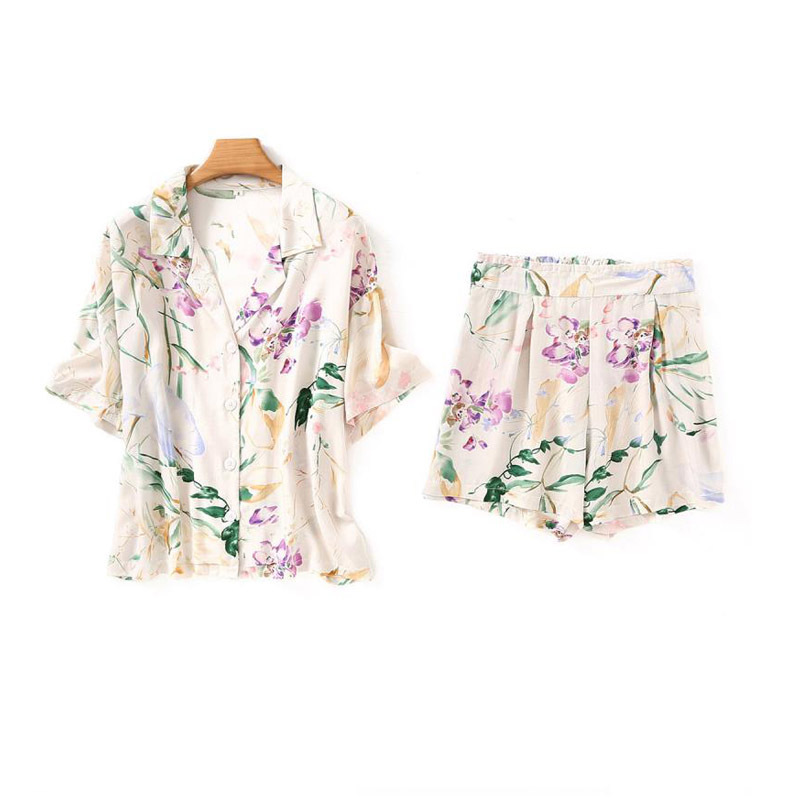 New Flower Printing Short Sleeve Pajama Set Long Pants And Short Pants Sleepwear Loungewear Women Turn-down Collar Satin 2 Piece