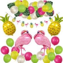 41pcs/set Tropical Flamingo Theme Hawaiian Party Decorations Banner Palm Leaves Pineapple Flamingo Decoration Balloon Garland
