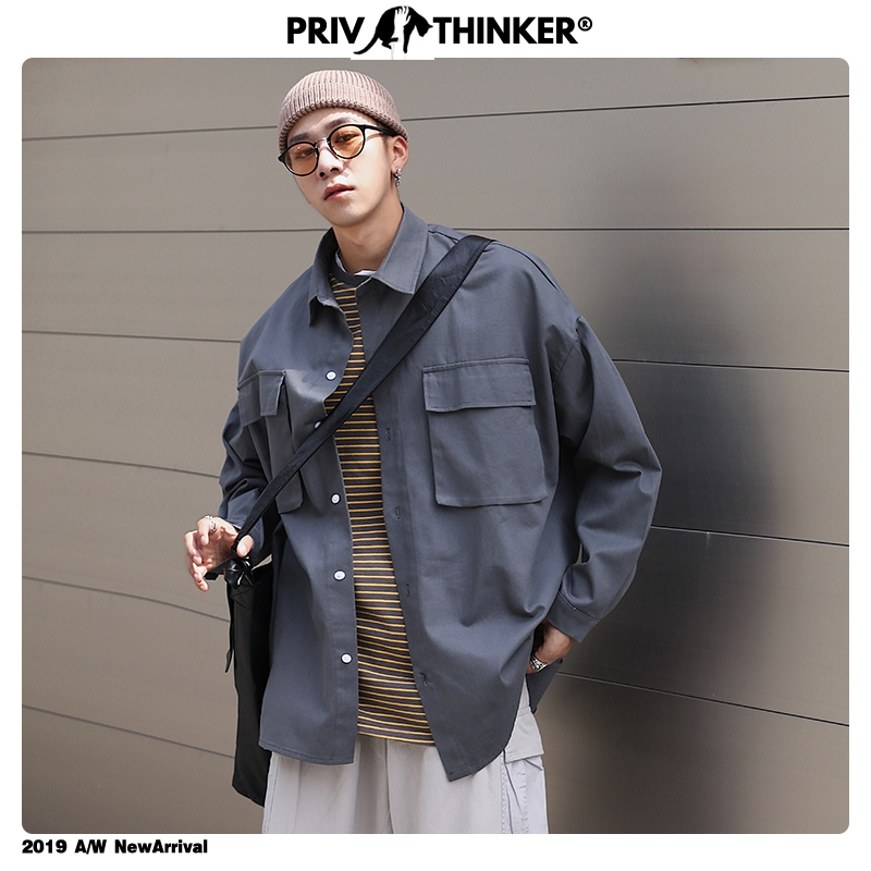 Privathinker Solid Color Men's Long Sleeve Shirts 2020 Korean Gray Iirregular Blouse Streetwear Male Casual Black White Shirts