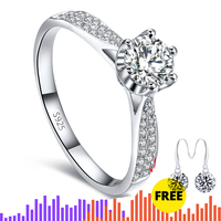 1.5 CARAT NOT FAKE S925 Sterling Silver Ring SONA Diamond Classic 6 claws Best Romance Fine Ring Wedding Engagement simple 925