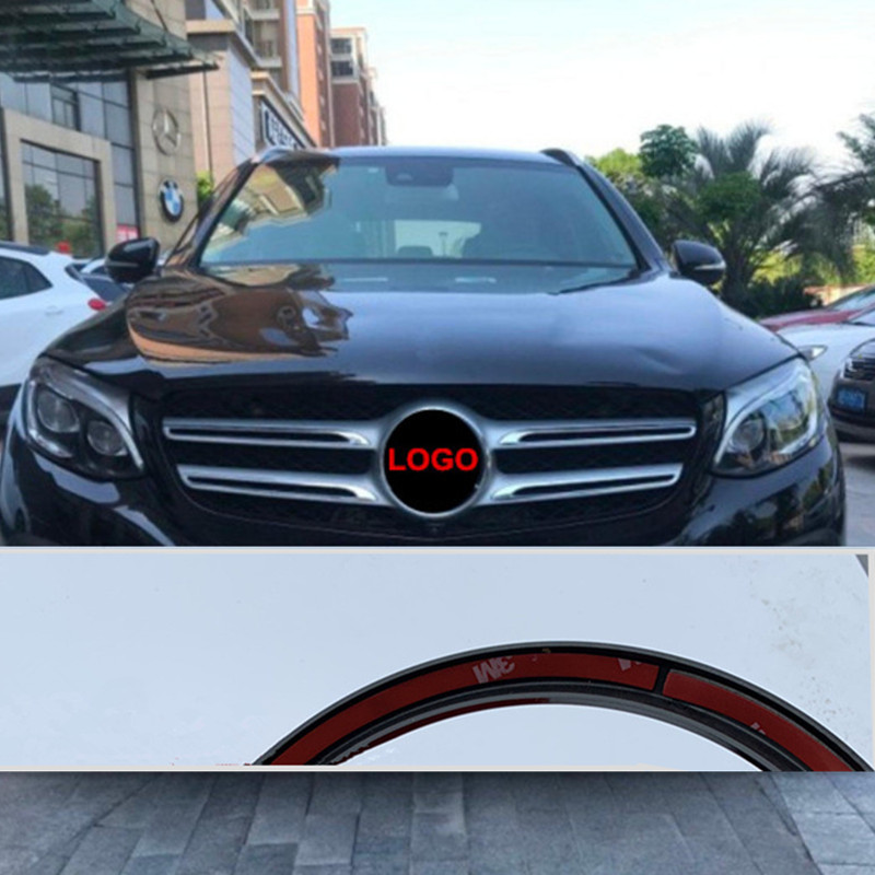 18.8cm/21cm Front Grill Star Logo For Mercedes-Benz C200 E300L A B C E CLA GLA GLC GLE GLS400 Class Badge Refiting Sticker Black