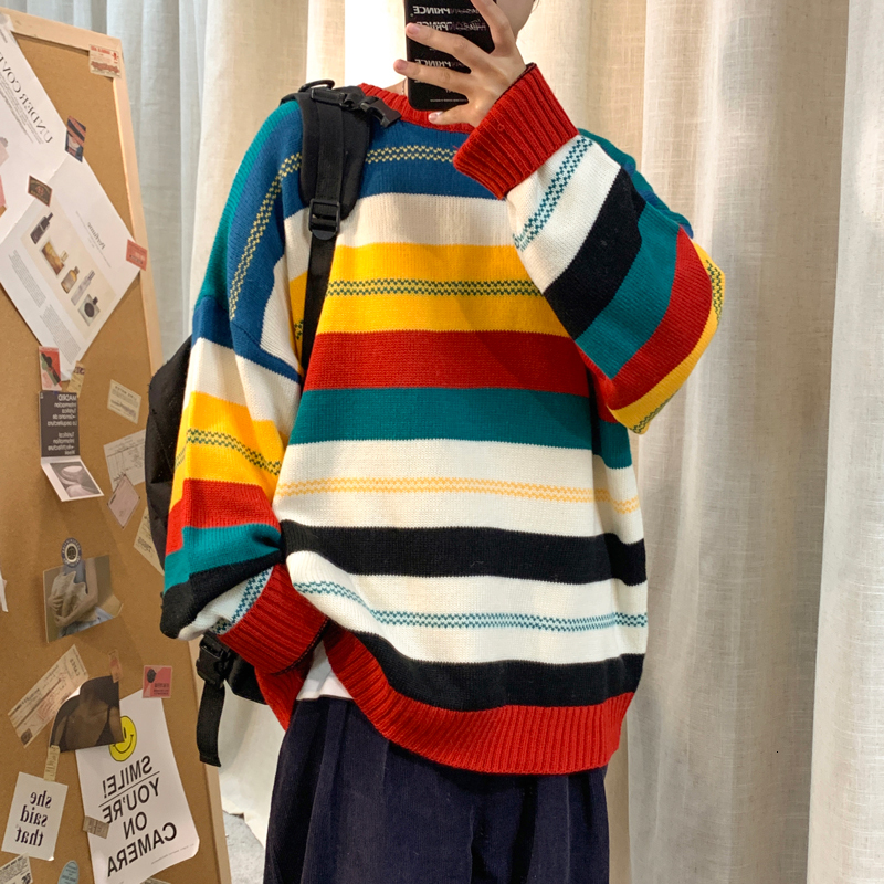 Color Striped Sweater Men's Fashion Casual O-neck Sweater Pullover Men Streetwear Loose Knitting Sweaters Male Sweter Clothes