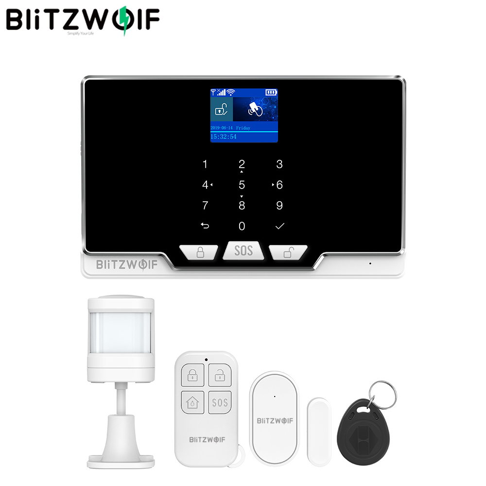 BlitzWolf BW-IS6 2G GSM & 433Mhz & WIFI Smart Home Security Alarm System Kits Door & Window Sensor PIR Motion Detected RFID Host