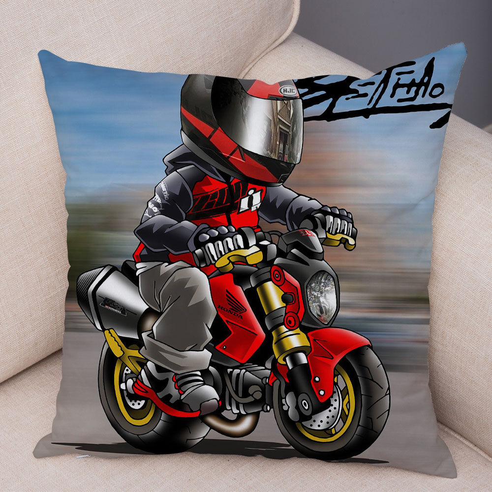 Extreme Sports Cushion Cover Decor Cartoon Motorcycle Pillowcase Soft Plush Colorful Mobile Bike Pillow Case for Sofa Home Car 32