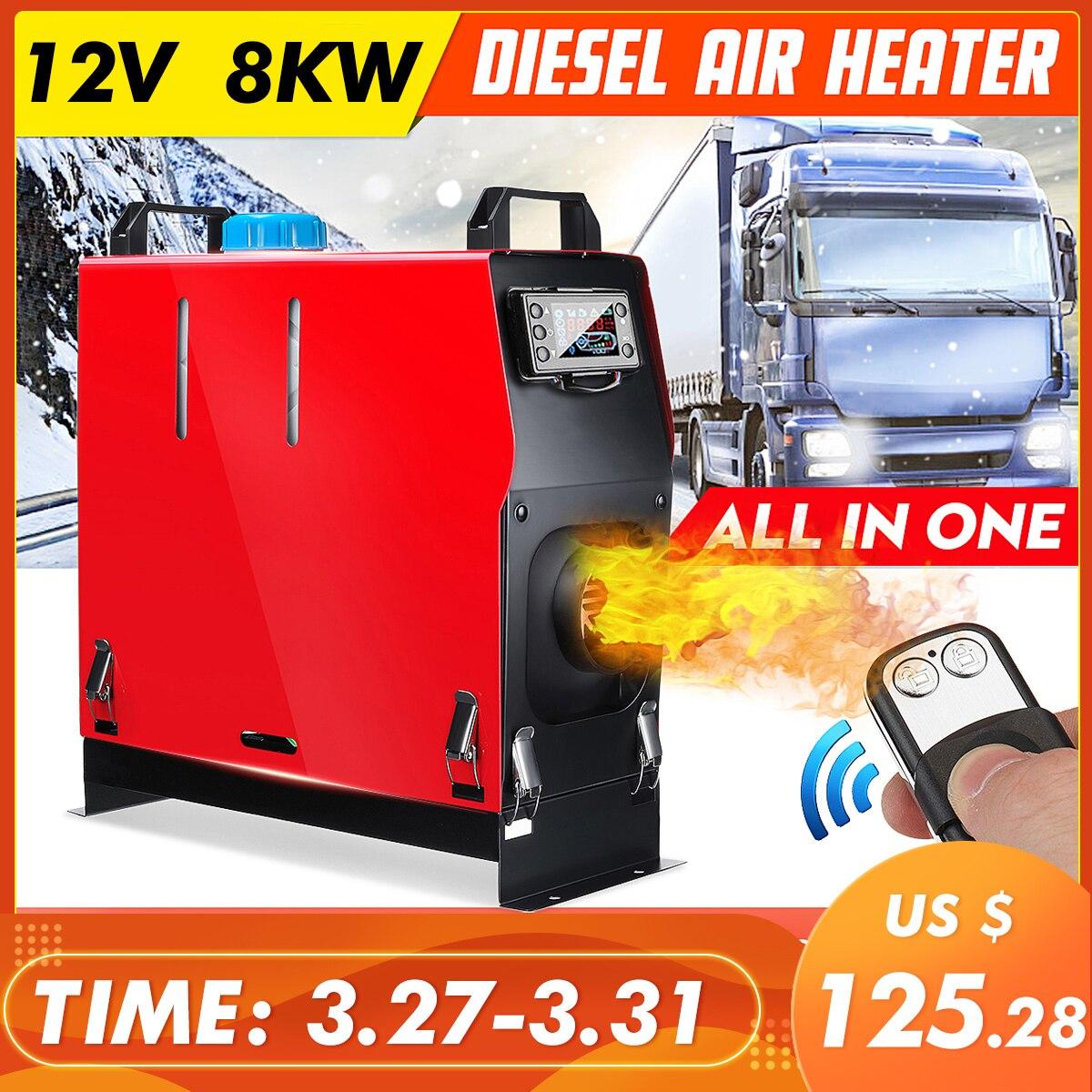 Todo en un aire calentador diesel 1KW-8KW ajustable 12V un agujero calentador de coche para camiones Motor-casas barcos autobús LCD + interruptor de llave + control remoto