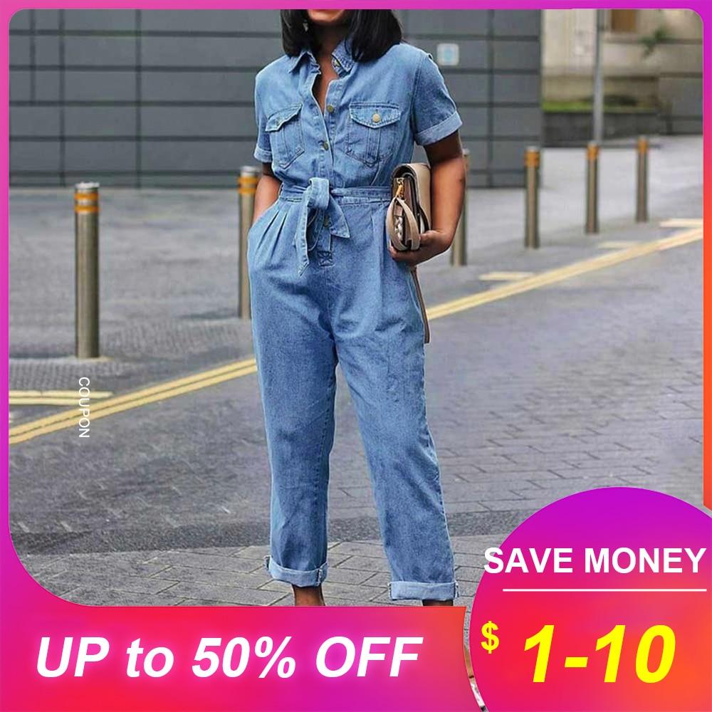 Plus Size 3XL African Casual Denim Jumpsuit Women Plain Lace-Up Straight High Waist Jumpsuit Button Pocket Rompers 2019 Jumpsuit